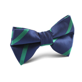 Navy Blue with Green Stripes Kids Bow Tie