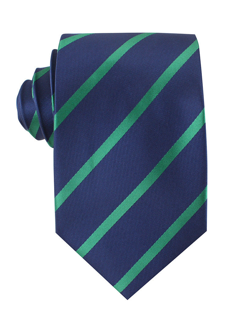 f93602dba222 Navy Blue with Green Stripes Necktie | Tie Ties Thick Wide Normal Neckties  | OTAA