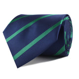 Navy Blue with Green Stripes Skinny Tie Front Roll