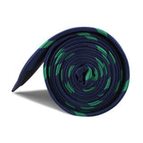 Navy Blue with Green Stripes Necktie Side Roll