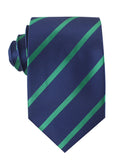 Navy Blue with Green Stripes Necktie