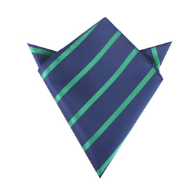 Navy Blue with Green Stripes Pocket Square