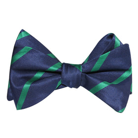 Navy Blue with Green Stripes Self Tie Bow Tie