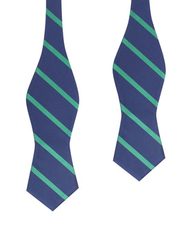 Navy Blue with Green Stripes Self Tie Diamond Tip Bow Tie