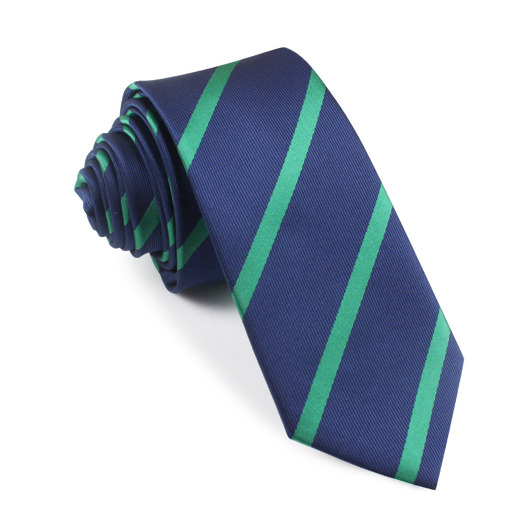 navy blue with green stripes tie slim thin ties