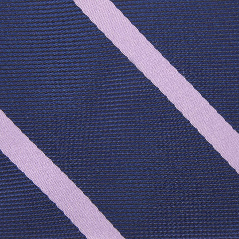 Navy Blue with Lavender Purple Stripes Kids Bow Tie