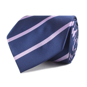 Navy Blue with Lavender Purple Stripes Necktie