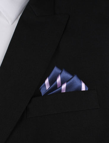 Navy Blue with Lavender Purple Stripes Pocket Square