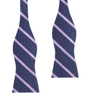 Navy Blue with Lavender Purple Stripes Self Tie Bow Tie