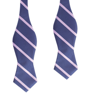 Navy Blue with Lavender Purple Stripes Self Tie Diamond Tip Bow Tie