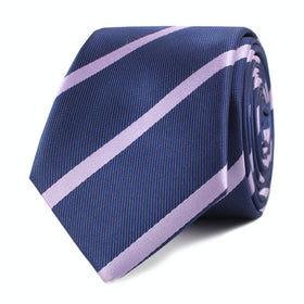 Navy Blue with Lavender Purple Stripes Skinny Tie