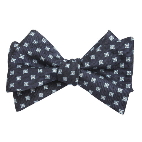 Navy Blue with Light Blue Pattern - Bow Tie (Untied)