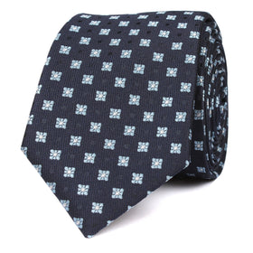 Navy Blue with Light Blue Pattern Skinny Tie