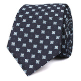 Navy Blue with Light Blue Pattern - Skinny Tie OTAA roll