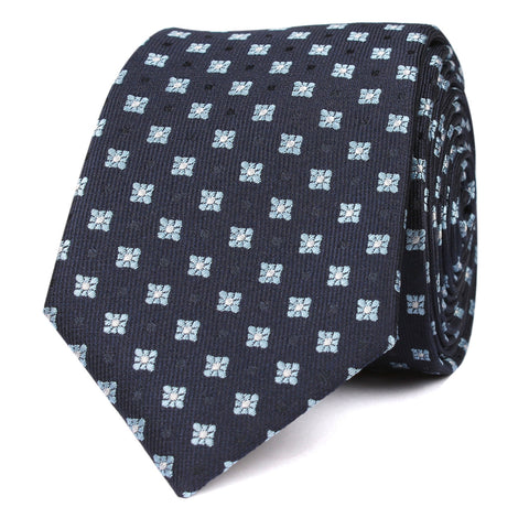 Navy Blue with Light Blue Pattern - Skinny Tie