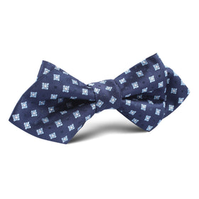 Navy Blue with Light Blue Pattern Diamond Bow Tie