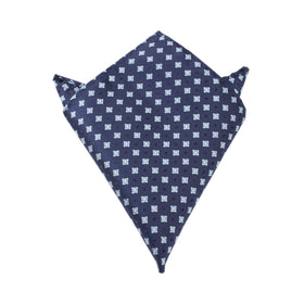 Navy Blue with Light Blue Pattern Pocket Square