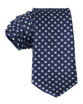 Navy Blue with Light Blue Pattern Tie