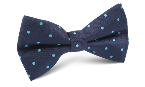 Navy Blue with Mint Blue Polka Dots Bow Tie