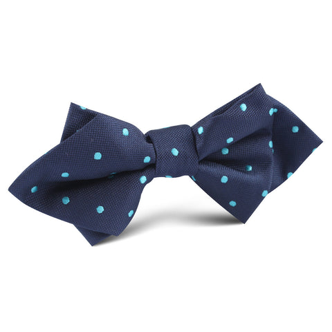 Navy Blue with Mint Blue Polka Dots Diamond Bow Tie