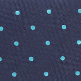 Navy Blue with Mint Blue Polka Dots Fabric Self Tie Diamond Tip Bow TieM127