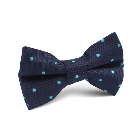 Navy Blue with Mint Blue Polka Dots Kids Bow Tie