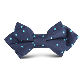 Navy Blue with Mint Blue Polka Dots Kids Diamond Bow Tie