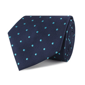 Navy Blue with Mint Blue Polka Dots Necktie