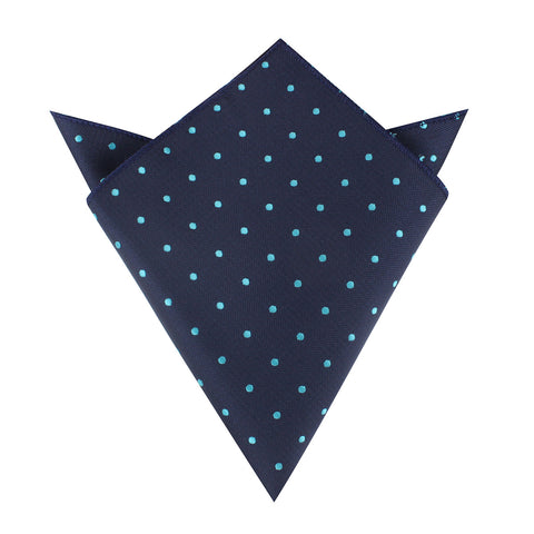 Navy Blue with Mint Blue Polka Dots Pocket Square
