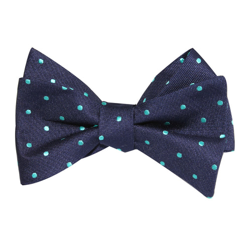 Navy Blue with Mint Blue Polka Dots Self Tie Bow Tie