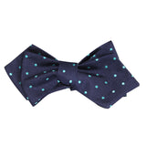 Navy Blue with Mint Blue Polka Dots Self Tie Diamond Tip Bow Tie 2