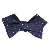 Navy Blue with Mint Blue Polka Dots Self Tie Diamond Tip Bow Tie 3