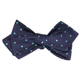 Navy Blue with Mint Blue Polka Dots Self Tie Diamond Tip Bow Tie