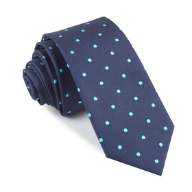 Navy Blue with Mint Blue Polka Dots Skinny Tie