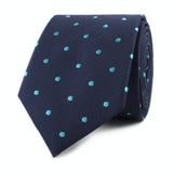 Navy Blue with Mint Blue Polka Dots Skinny Tie Front Roll