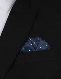 Navy Blue with Mint Blue Polka Dots Winged Puff Pocket Square Fold