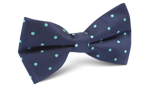 Navy Blue with Mint Green Polka Dots Bow Tie
