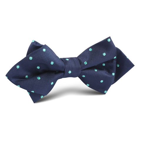 Navy Blue with Mint Green Polka Dots Diamond Bow Tie