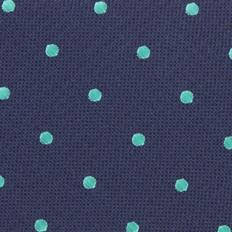 Navy Blue with Mint Green Polka Dots Kids Bow Tie