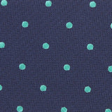 Navy Blue with Mint Green Polka Dots Fabric Self Tie Bow Tie M126