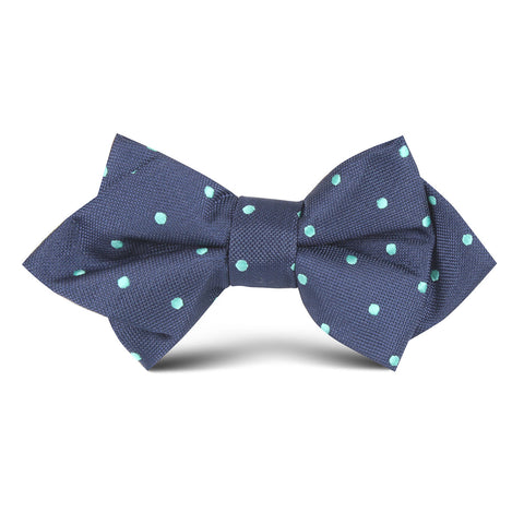 Navy Blue with Mint Green Polka Dots Kids Diamond Bow Tie