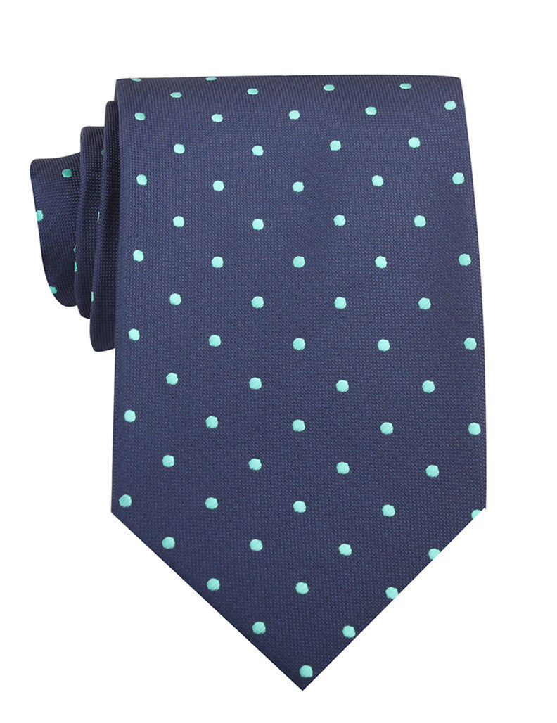 Navy Blue With Mint Green Polka Dots Necktie Tie Ties Thick Wide