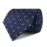 Navy Blue with Mint Green Polka Dots Necktie Front Roll