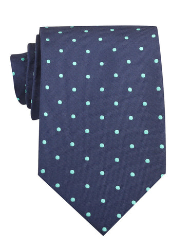 Navy Blue with Mint Green Polka Dots Necktie