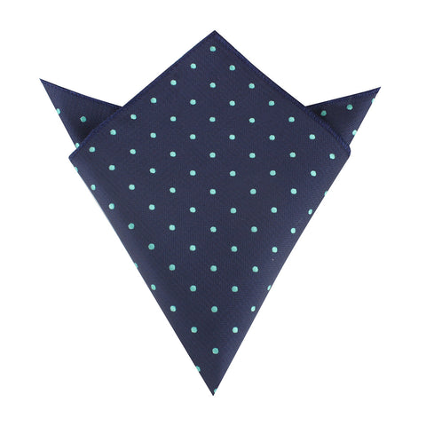 Navy Blue with Mint Green Polka Dots Pocket Square