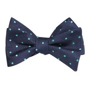 Navy Blue with Mint Green Polka Dots Self Tie Bow Tie