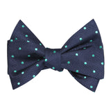 Navy Blue with Mint Green Polka Dots Self Tie Bow Tie 2