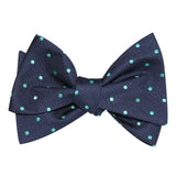 Navy Blue with Mint Green Polka Dots Self Tie Bow Tie 3