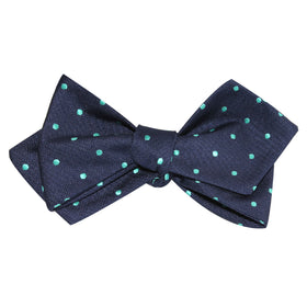 Navy Blue with Mint Green Polka Dots Self Tie Diamond Tip Bow Tie