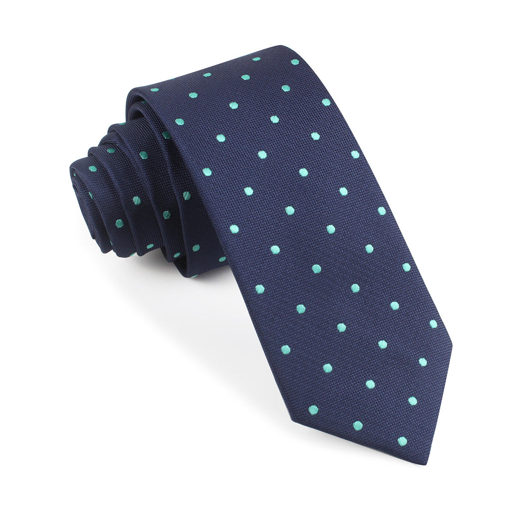Navy Blue With Mint Green Polka Dots Skinny Tie Slim Thin Ties